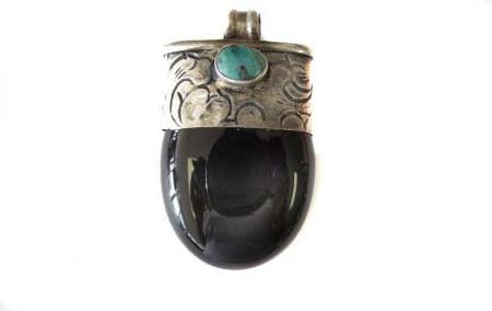 Vintage African Black Agate Tibetan Pendant Silver Repousse trad