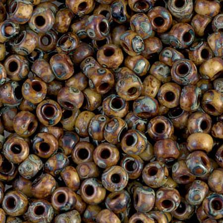 6/0 Japanese Seed Beads Miyuki picasso Opaque Brown Glass Beads-50 grams