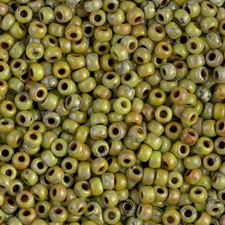 8/0 Seed Beads Miyuki picasso Opaque Chartreuse Glass Beads