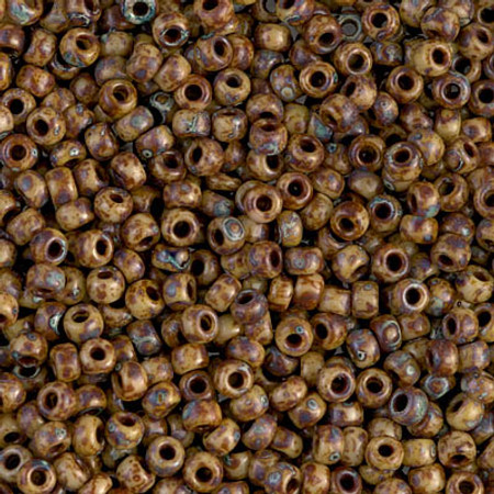 8/0 Seed Beads Miyuki picasso Opaque Brown Glass Beads
