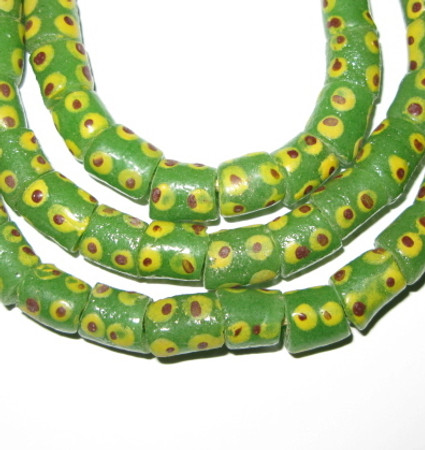 A strand of African fancy lime green Ghana Krobo recycled green glass beads