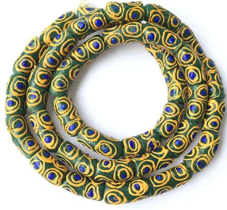 A strand of green and light blue eye African fancy Krobo Powderglass beads