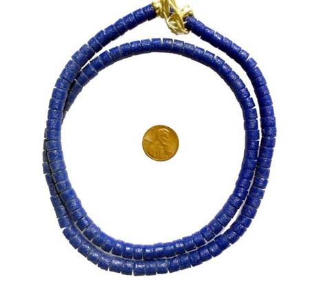 Cobalt blue krobo powderglass trade beads
