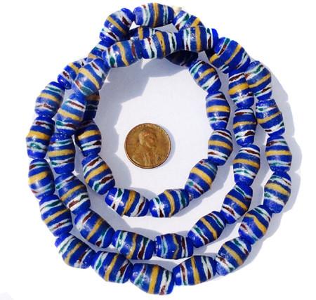 African Ghana blue multi banded krobo bicone handmade glass trade beads