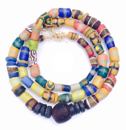 African Ghana multi colored handmade mixed glass trade beads