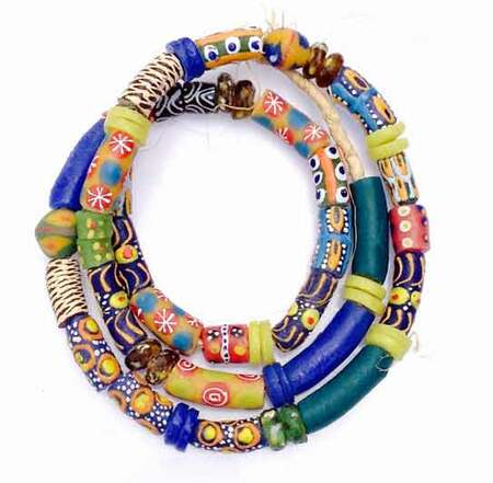 56 Mixed Ghana Recycled Glass Trade Beads