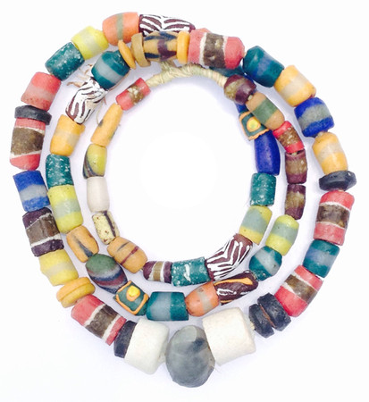 64 Mixed Ghana Recycled Glass Trade Beads