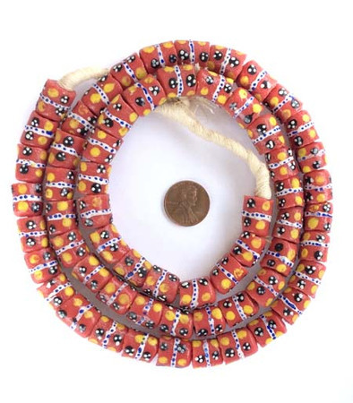 Ghana handmade Coral red with yellow dots cylinder shaped beads