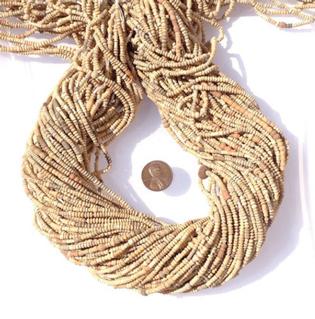 4 strands of Tiny earth tone Mali Clay African Trade Beads