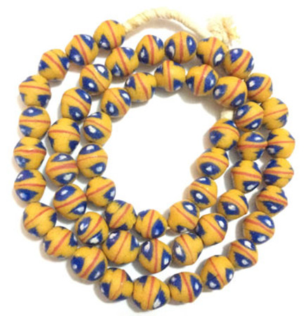 Ghana handmade Mustard Yellow Bicone red banded with blue and white eye