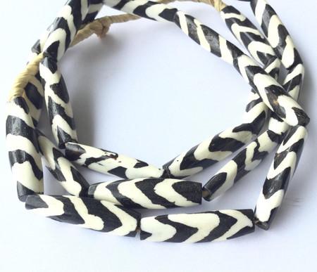 African Traditional batik Dyed bone beads Zebra Design