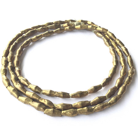 77 Ethiopian African Authentic Natural Rice Brass Oval beads