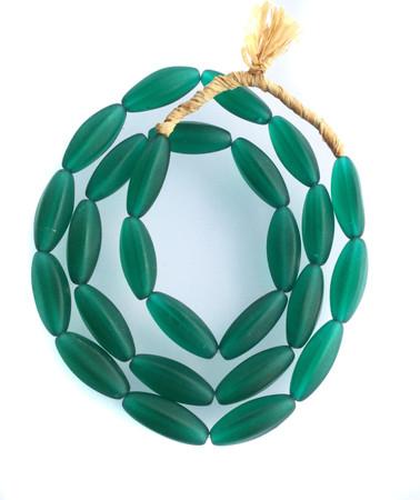 Beautiful Vintage African green Elongate Glass trade beads