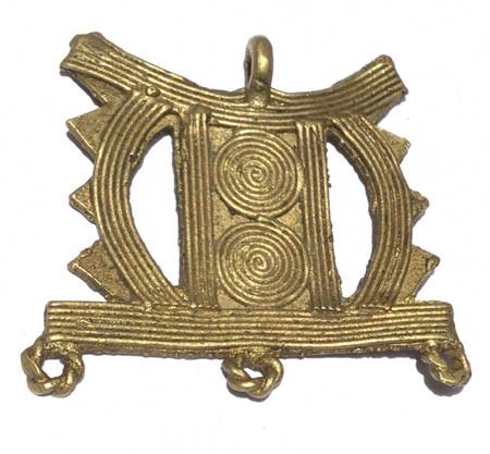 Authentic African tribe handmade brass pendant stool