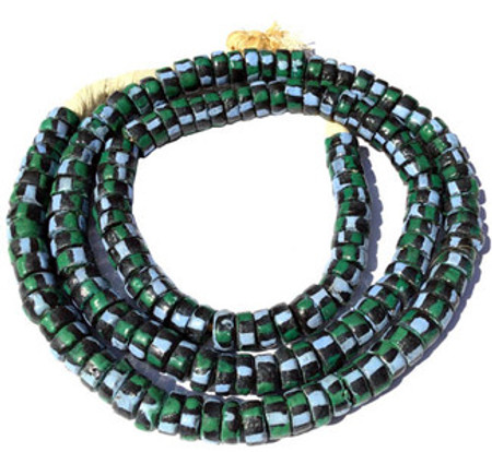 155 Ghana Multi colored Krobo Recycled Disk Glass African trade