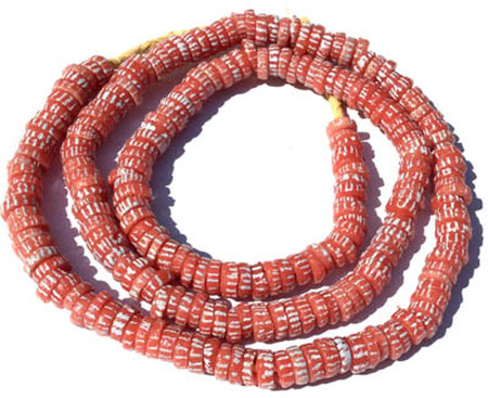 231 Ghana Bubble Gum Pink Krobo Recycled Disk Glass African trad
