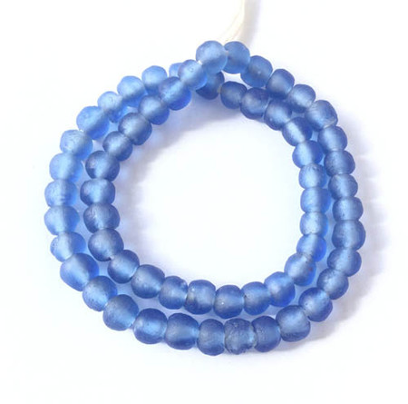 Ghana handmade Lt. Blue Krobo Recycled glass trade beads