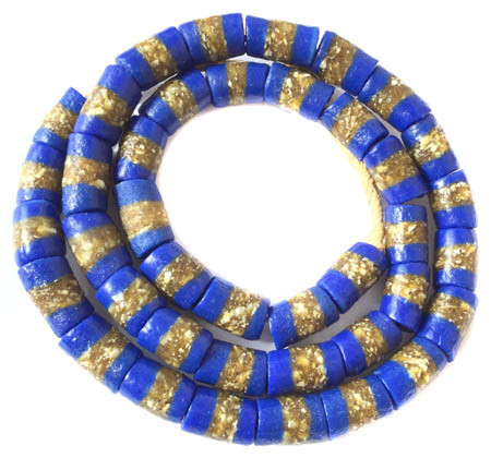 Ghana Opaque royal Blue Krobo Recycled Glass African trade beads