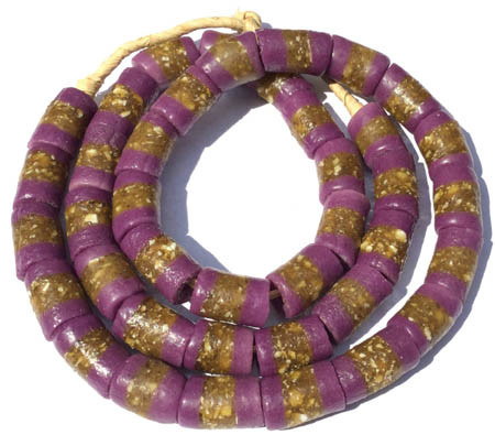 Ghana Opaque Purple Krobo Recycled Glass African trade beads
