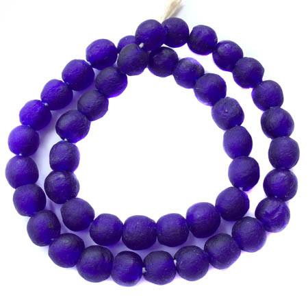 matte Cobalt Blue Ghana Round Krobo Recycled Glass trade beads