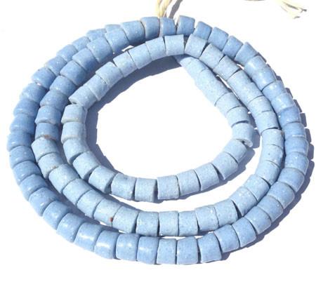 124 handmade Sky blue Ghana Krobo recycled Glass Disk African tr