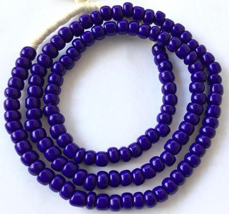 Vintage Ghana Opaque cobalt blue Pony glass African trade beads