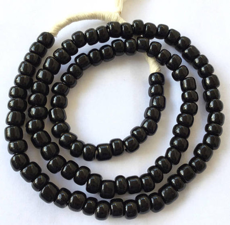 Vintage Ghana Opaque Black Pony glass African trade beads