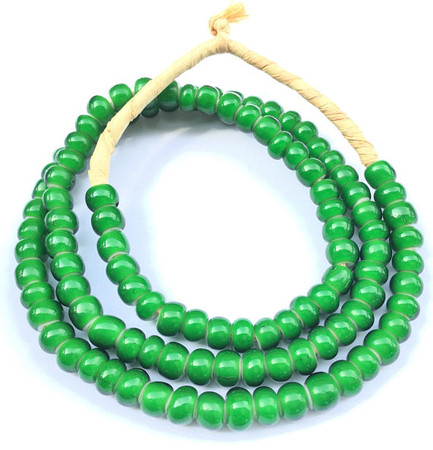Strand of Green African White heart glass beads
