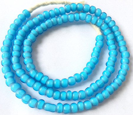 West African Blue Turquoise Ghana White heart glass beads