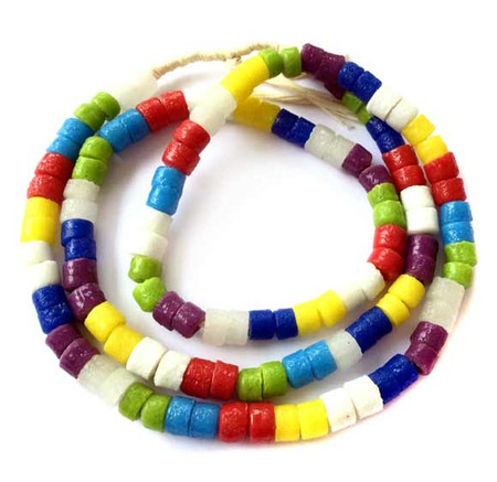 124 Mixed Ghana Recycled Glass Trade Beads