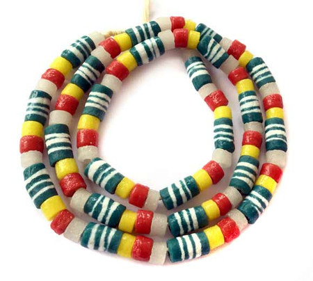 90 Mixed Ghana Recycled Glass Trade Beads