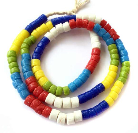 120 Mixed Ghana Recycled Glass Trade Beads