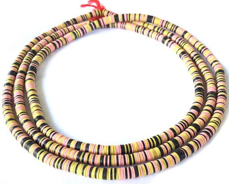 1110 Recycled Phono Vinyl Disk Multi Colored African Trade beads