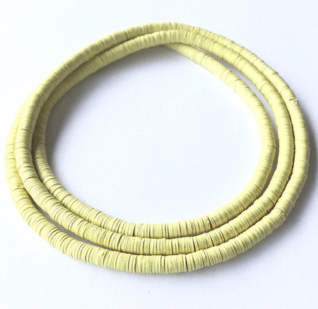 1115 Lemon yellow Recycled Phono Vinyl Disk African Trade beads [9019]
