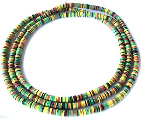 1115 Yellow and Green mixed Recycled Phono Vinyl Disk trade bead