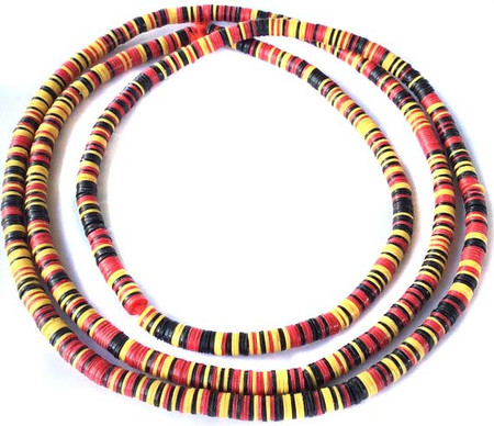 1114 Yellow black Recycled Phono Vinyl Disk African trade beads
