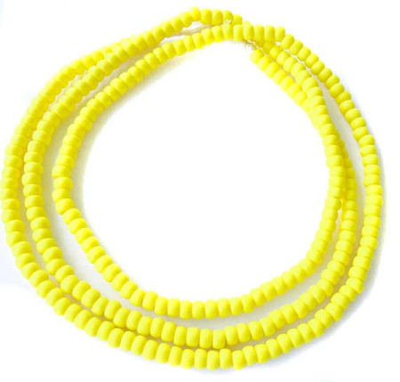 254 Nice Opaque matte yellow African glass seed beads