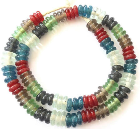 African Krobo multi colored annular powderglass trade beads