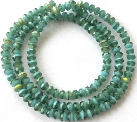 Czech crystal Green teal Gemstome cut Bohemian Glass trade beads