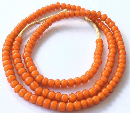 142 Ghana Orange White heart glass African Trade beads