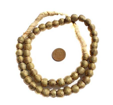Ghana Handmade African Lost Wax tribe strand of brass beads