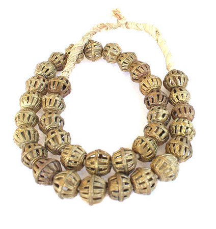 Handmade African lost Wax natural Cage Weave Brass trade beads