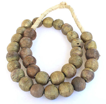 15mm Ghana African lost Wax natural stacks wraped weave Brass trade beads