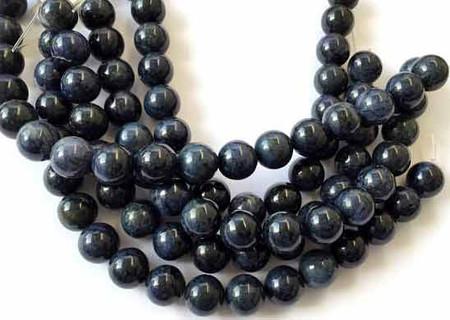 17 Fine Natural Dumortierite Round Gemstone beads