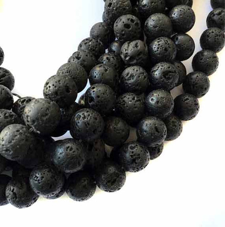 10mm Round smooth black  Lava polished waxed Volcanic Gemstone