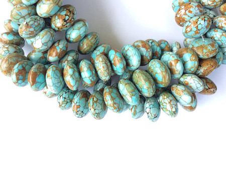 17 African Turquoise Rondelle Gemstone beads Stone