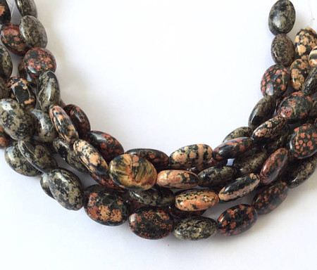 Fine Natural Mexican Red Snowflake Jasper Oval Gemstone beads