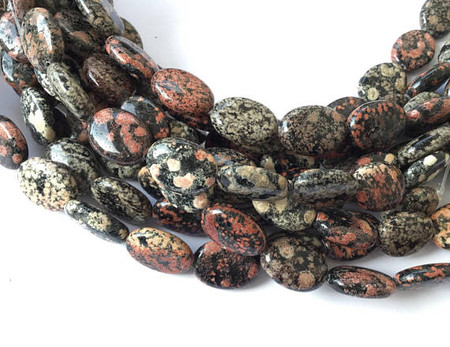 Fine Natural Mexican Red Snowflake Jasper Gemstone Oval beads