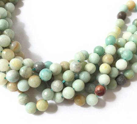 45 Natural Round faceted Amazonite Gemstone beads