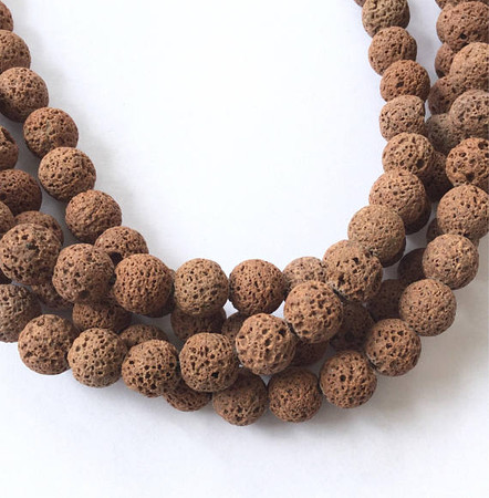 10mm Perfect Round unwaxed Volcanic Gemstone lava Beads